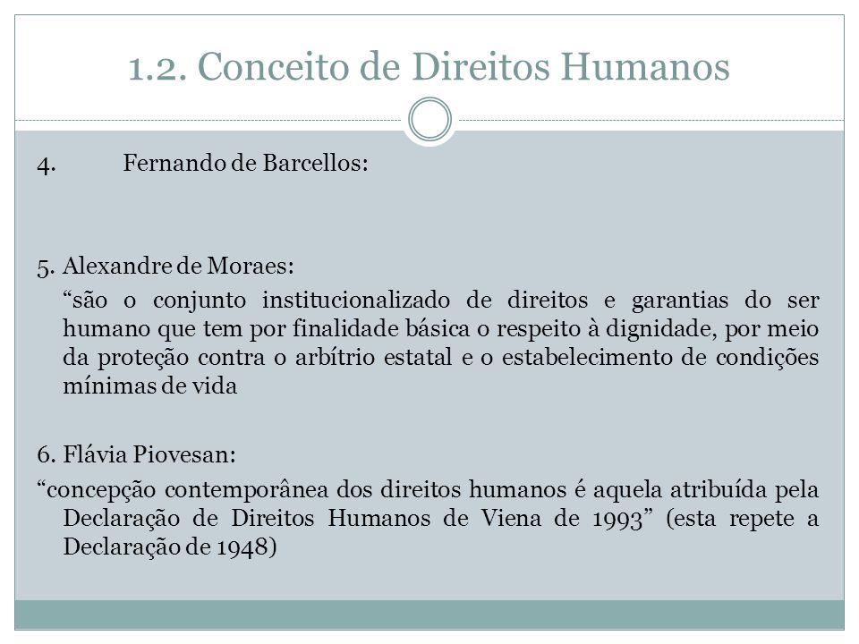 1.2. Conceito de Direitos Humanos 4. Fernando de Barcellos: 5. Alexandre de Moraes: são o conjunto institucionalizado de direitos e garantias do ser h