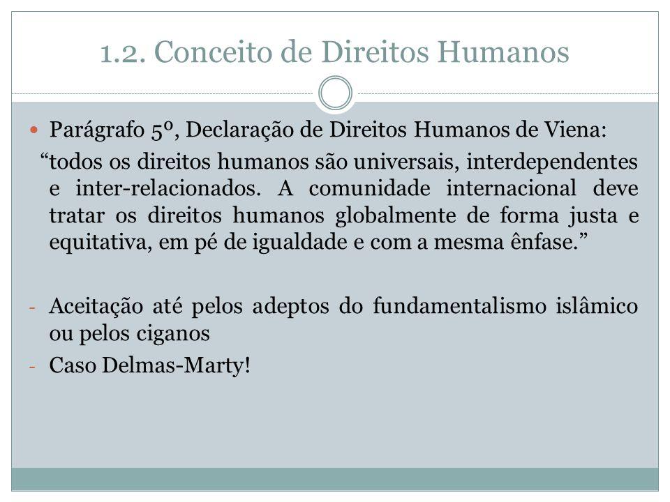 1.2. Conceito de Direitos Humanos Parágrafo 5º, Declaração de Direitos Humanos de Viena: todos os direitos humanos são universais, interdependentes e