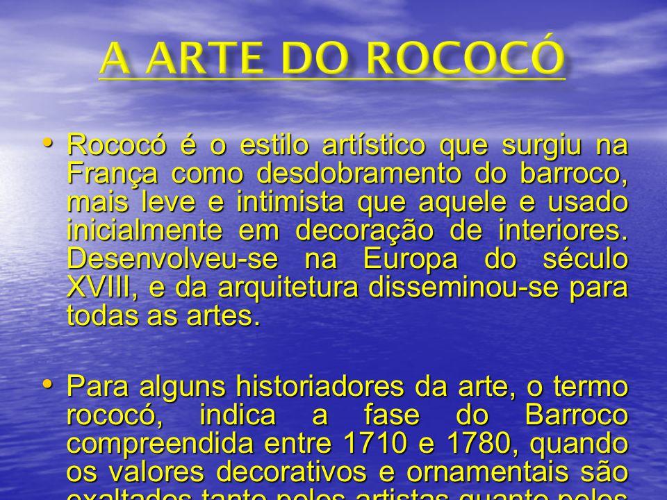 Nessa arte, o estilo rococó substituiu os volumes que indicam o vigor e a emergia barrocos por linhas suaves e graciosas.