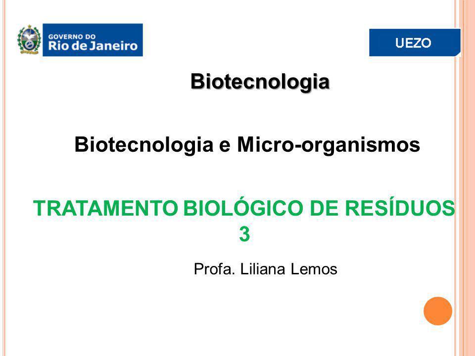 Biotecnologia Profa. Liliana Lemos TRATAMENTO BIOLÓGICO DE RESÍDUOS 3 Biotecnologia e Micro-organismos