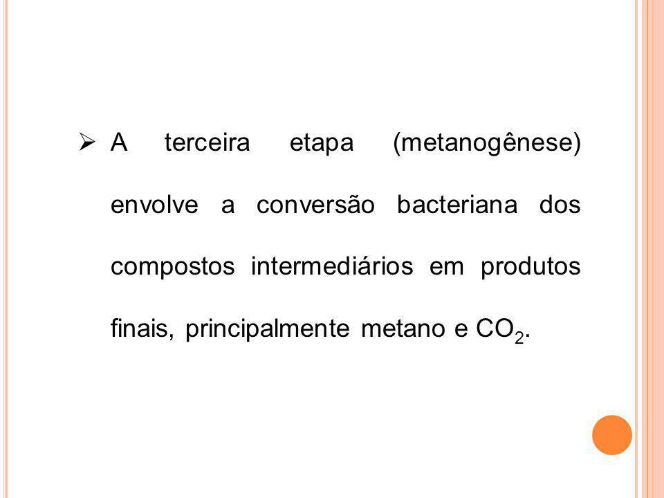 A terceira etapa (metanogênese) envolve a conversão bacteriana dos compostos intermediários em produtos finais, principalmente metano e CO 2.