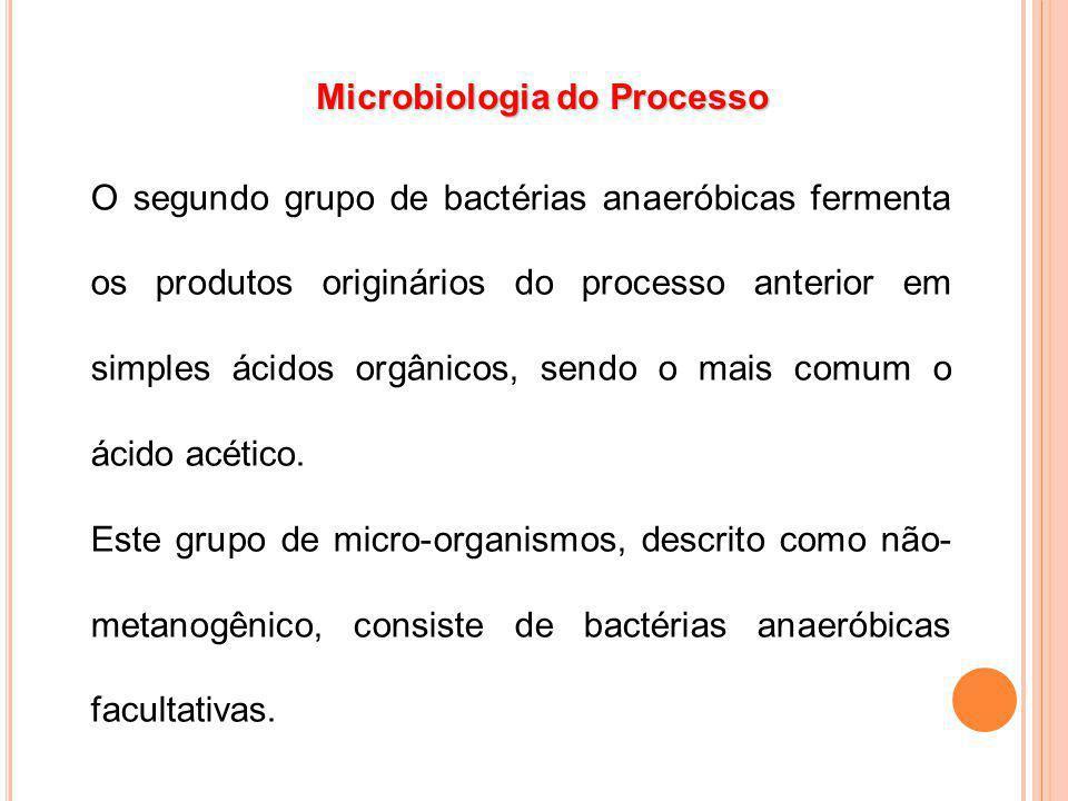 O segundo grupo de bactérias anaeróbicas fermenta os produtos originários do processo anterior em simples ácidos orgânicos, sendo o mais comum o ácido