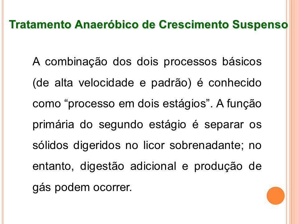 Tratamento Anaeróbico de Crescimento Suspenso A combinação dos dois processos básicos (de alta velocidade e padrão) é conhecido como processo em dois