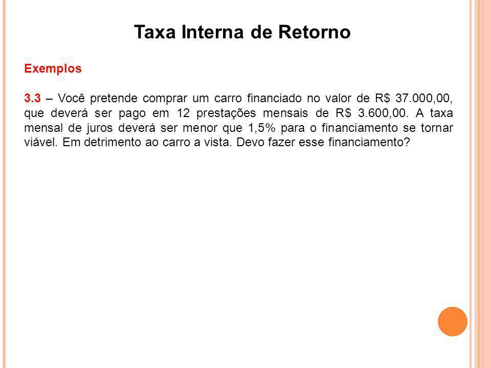 Taxa Interna de Retorno Exemplos 3.3 – Você pretende comprar um carro financiado no valor de R$ 37.000,00, que deverá ser pago em 12 prestações mensai