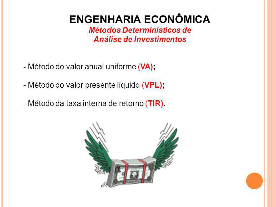 Métodos Determinísticos de Análise de Investimentos - Método do valor anual uniforme (VA); - Método do valor presente líquido (VPL); - Método da taxa
