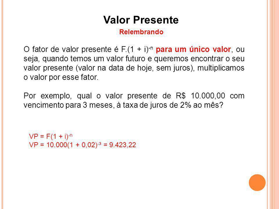 Valor Presente Relembrando O fator de valor presente é F.(1 + i) -n para um único valor, ou seja, quando temos um valor futuro e queremos encontrar o