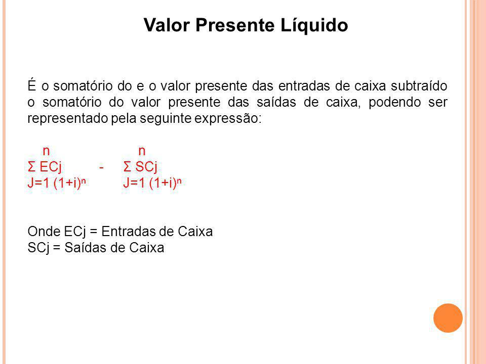 Valor Presente Líquido É o somatório do e o valor presente das entradas de caixa subtraído o somatório do valor presente das saídas de caixa, podendo