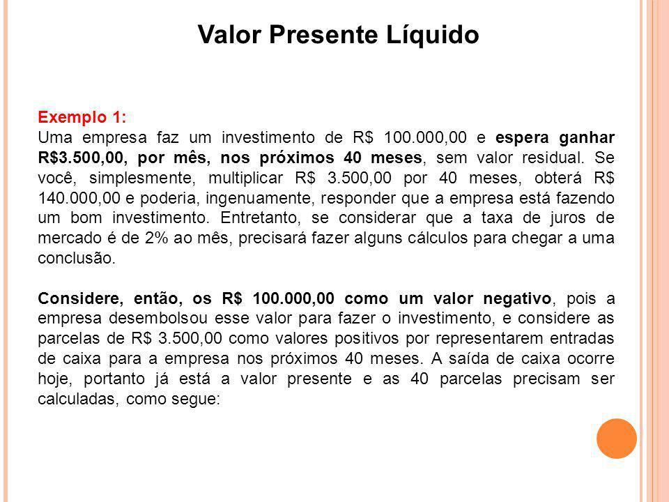 Valor Presente Líquido Exemplo 1: Uma empresa faz um investimento de R$ 100.000,00 e espera ganhar R$3.500,00, por mês, nos próximos 40 meses, sem val