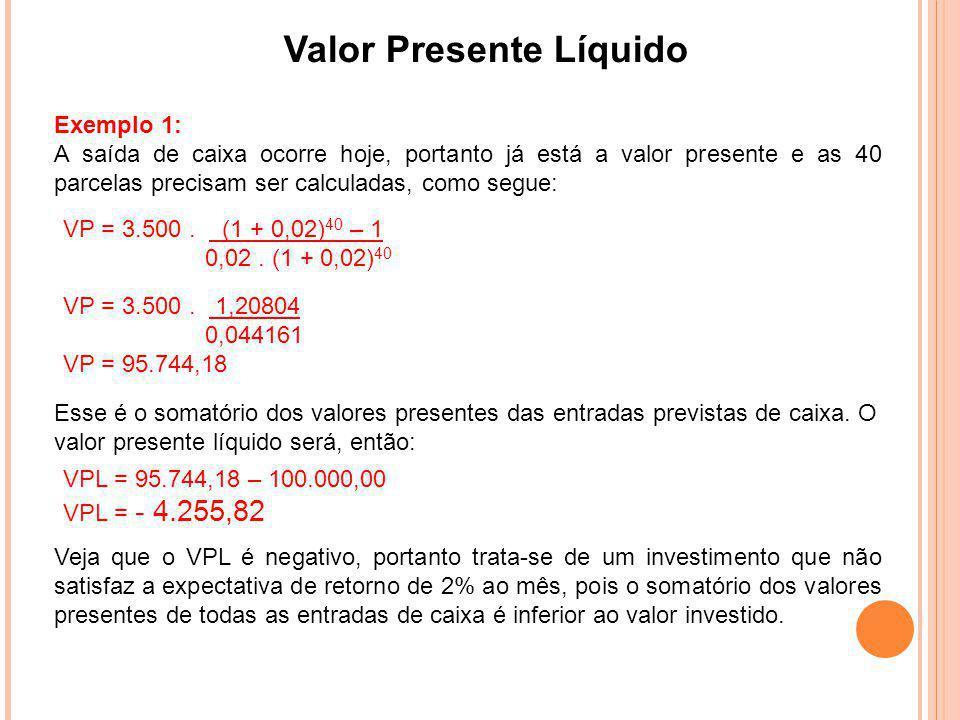 Valor Presente Líquido Exemplo 1: A saída de caixa ocorre hoje, portanto já está a valor presente e as 40 parcelas precisam ser calculadas, como segue