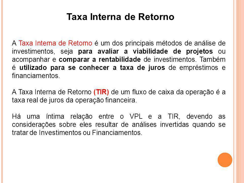 Taxa Interna de Retorno INVESTIMENTO - se VPL for positivo, a Taxa Interna de Retorno (TIR) é maior do que a Taxa de Mercado; se VPL for negativo, a Taxa Interna de Retorno (TIR) é menor do que a Taxa de Mercado e, se VPL=0, então a Taxa de Mercado coincide com a Taxa Interna de Retorno (TIR).