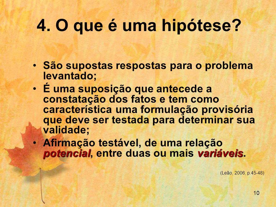 10 4.O que é uma hipótese.