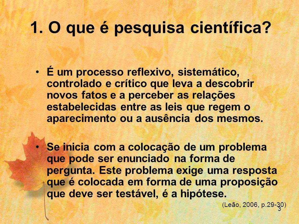 3 1.O que é pesquisa científica.