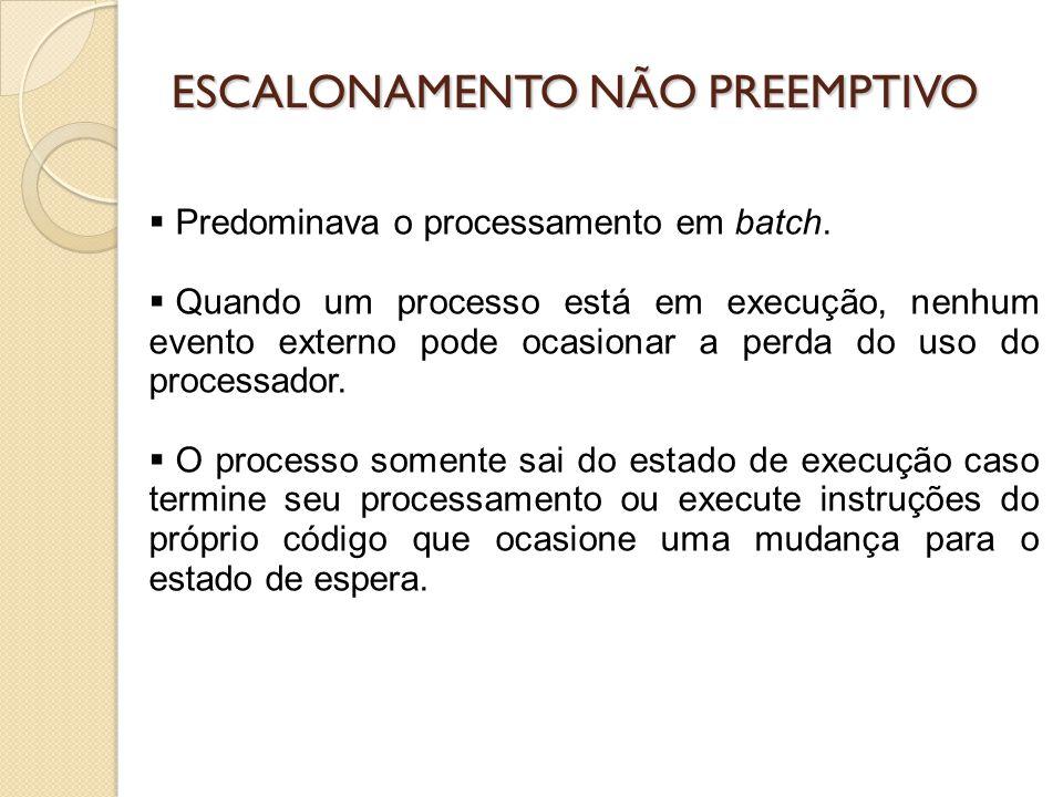 ESCALONAMENTO PREEMPTIVO O sistema operacional pode interromper um processo em execução e passá-lo para o estado de pronto, com o objetivo de alocar outro processo na UCP.