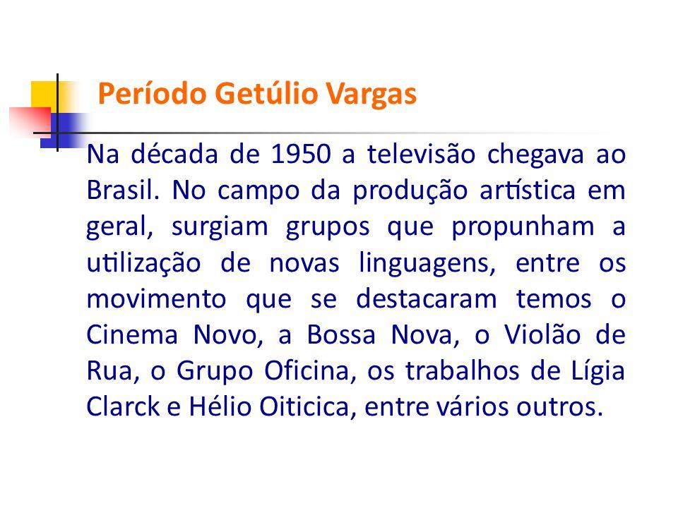 Na década de 1950 a televisão chegava ao Brasil. No campo da produção artística em geral, surgiam grupos que propunham a utilização de novas li