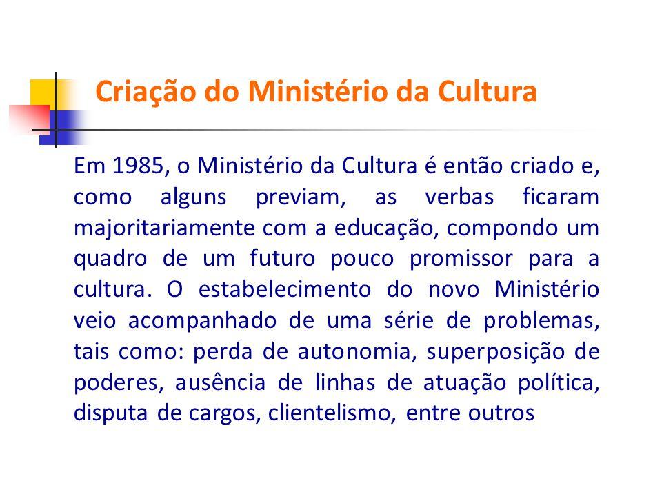 Em 1985, o Ministério da Cultura é então criado e, como alguns previam, as verbas ficaram majoritariamente com a educação, compondo um quadro de um fu
