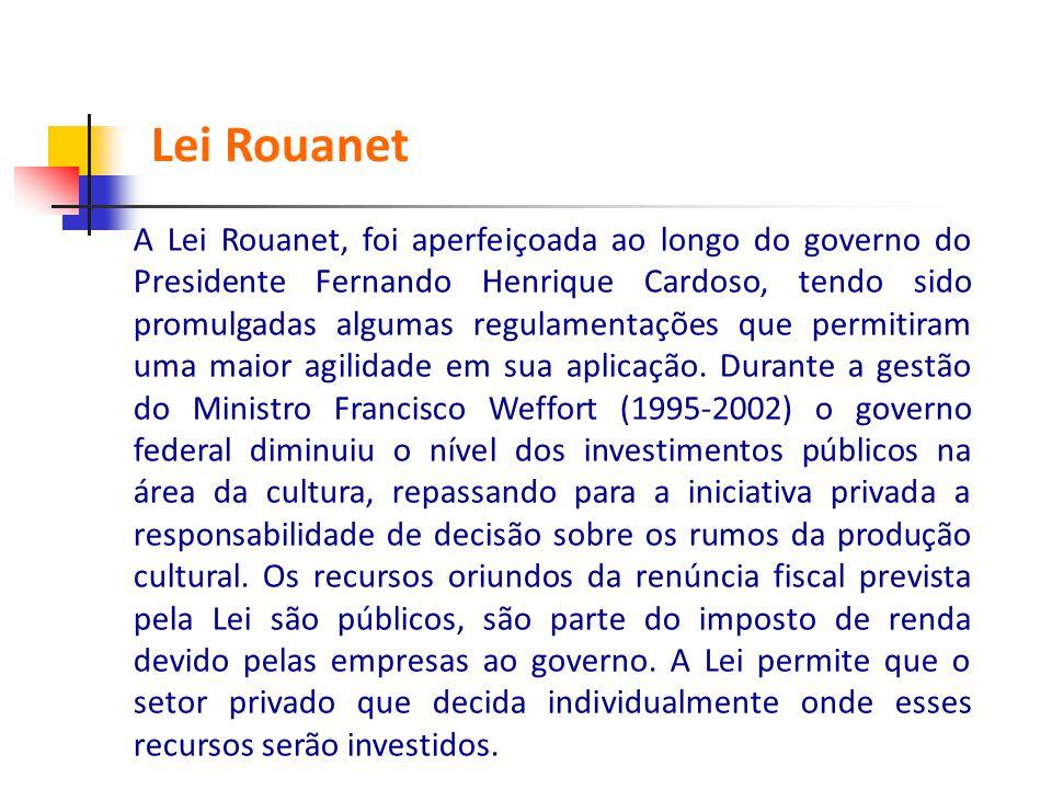 A Lei Rouanet, foi aperfeiçoada ao longo do governo do Presidente Fernando Henrique Cardoso, tendo sido promulgadas algumas regulamentações que permit