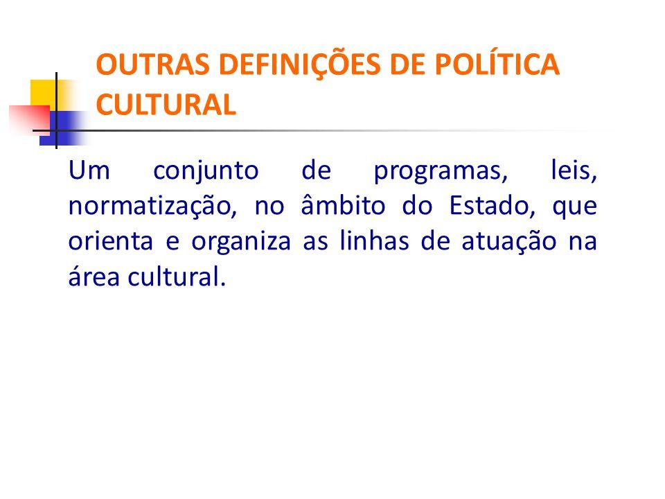Um conjunto de programas, leis, normatização, no âmbito do Estado, que orienta e organiza as linhas de atuação na área cultural. OUTRAS DEFINIÇÕES DE