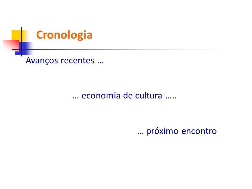 Avanços recentes … … economia de cultura ….. … próximo encontro Cronologia