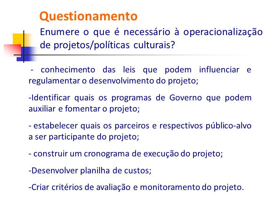 - conhecimento das leis que podem influenciar e regulamentar o desenvolvimento do projeto; -Identificar quais os programas de Governo que podem auxili