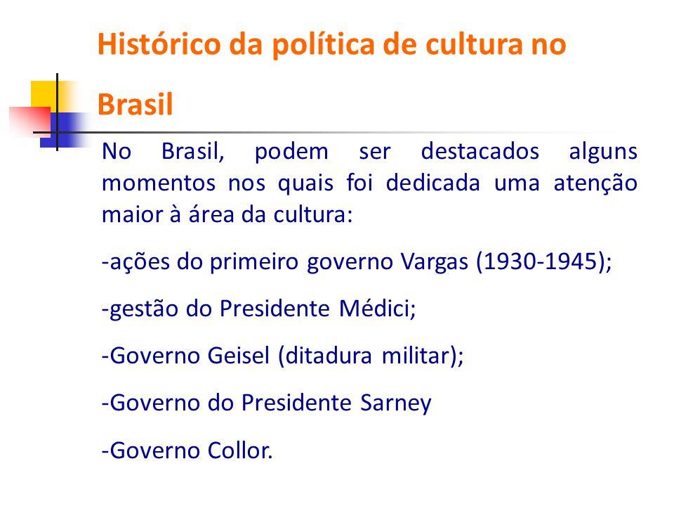 No Brasil, podem ser destacados alguns momentos nos quais foi dedicada uma atenção maior à área da cultura: -ações do primeiro governo Vargas (1