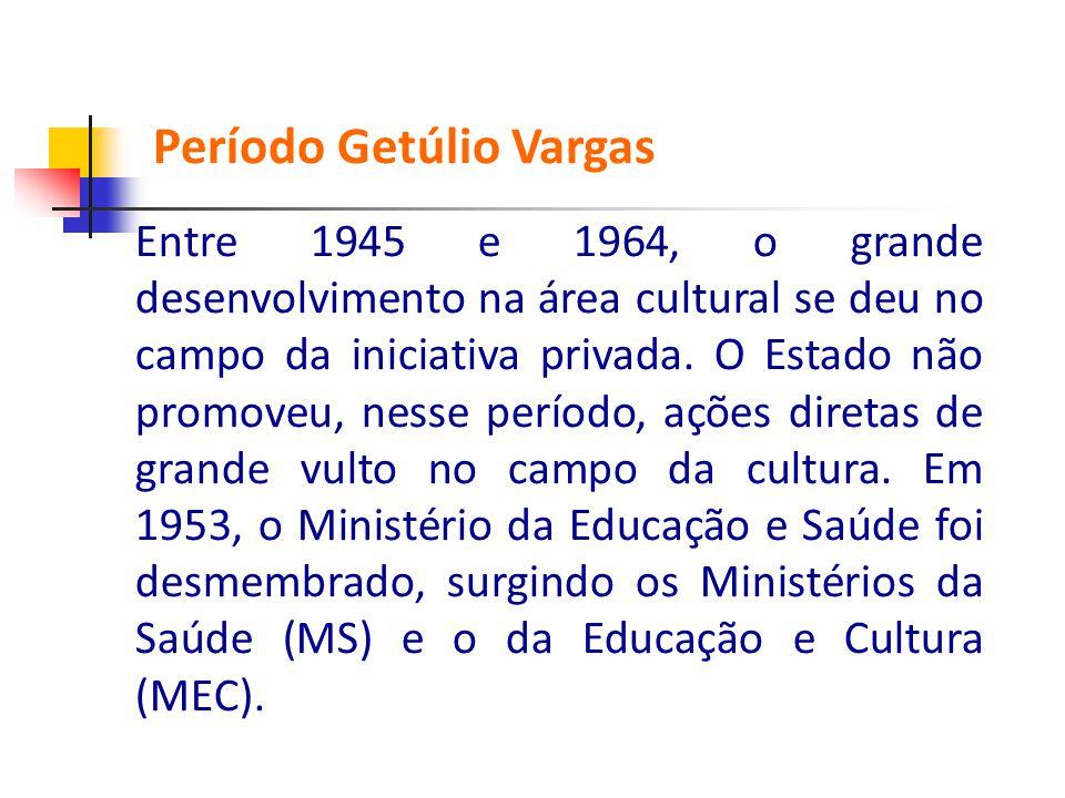 Entre 1945 e 1964, o grande desenvolvimento na área cultural se deu no campo da iniciativa privada. O Estado não promoveu, nesse período, ações d