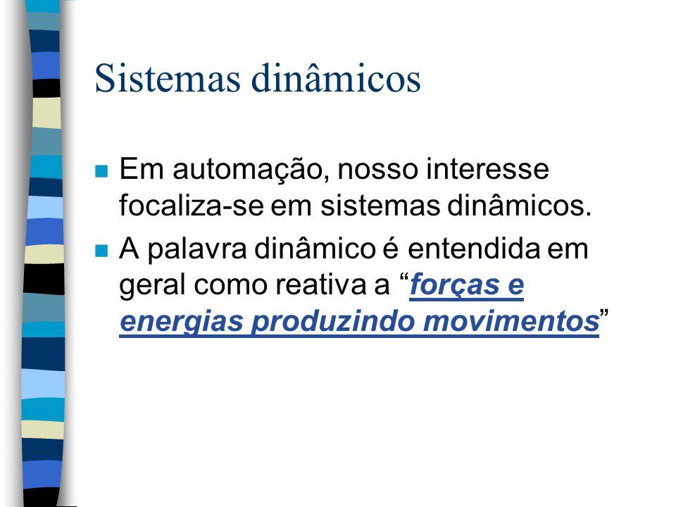 Sistemas dinâmicos n Em automação, nosso interesse focaliza-se em sistemas dinâmicos.