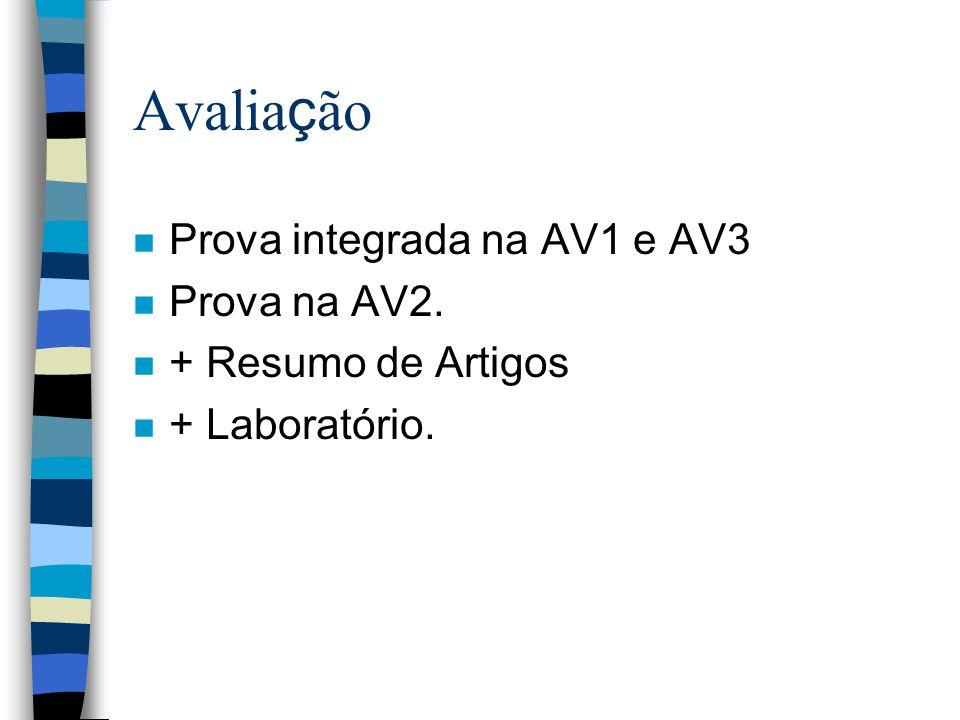 Avalia ç ão n Prova integrada na AV1 e AV3 n Prova na AV2. n + Resumo de Artigos n + Laboratório.