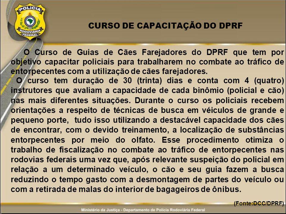 CURSO DE CAPACITAÇÃO DO DPRF O Curso de Guias de Cães Farejadores do DPRF que tem por objetivo capacitar policiais para trabalharem no combate ao tráf
