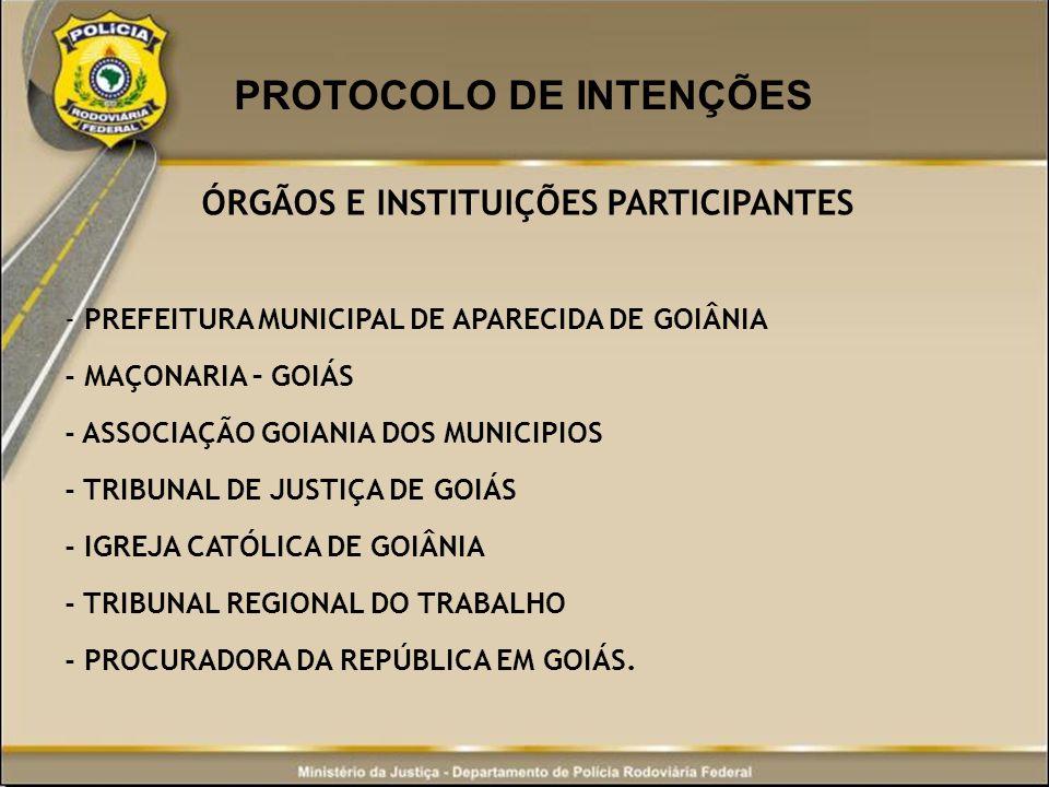 PROTOCOLO DE INTENÇÕES ÓRGÃOS E INSTITUIÇÕES PARTICIPANTES - PREFEITURA MUNICIPAL DE APARECIDA DE GOIÂNIA - MAÇONARIA – GOIÁS - ASSOCIAÇÃO GOIANIA DOS