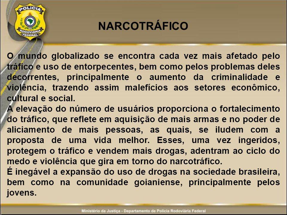 NARCOTRÁFICO O mundo globalizado se encontra cada vez mais afetado pelo tráfico e uso de entorpecentes, bem como pelos problemas deles decorrentes, pr