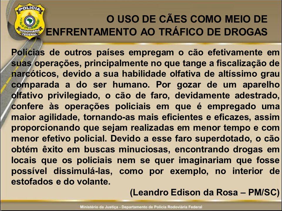 APREENSÕES DE DROGAS COM CÃES DA PRF (UF: MS) Em Ponta Porã/MS, do dia 16 de maio de 2012, a Cadela Kate localizou 16 quilos de maconha.