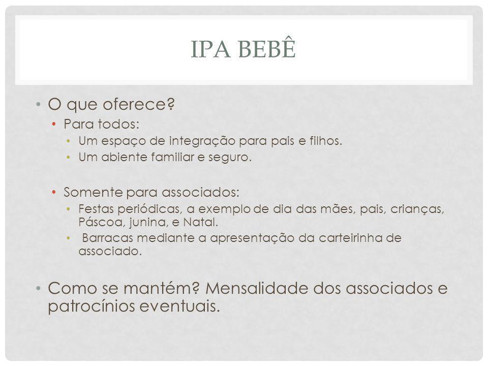 IPA BEBÊ Valor agregado para o bairro: O IPA Bebê é uma referência da praia de Ipanema.