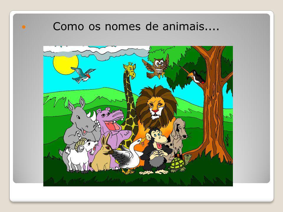 Como os nomes de animais....