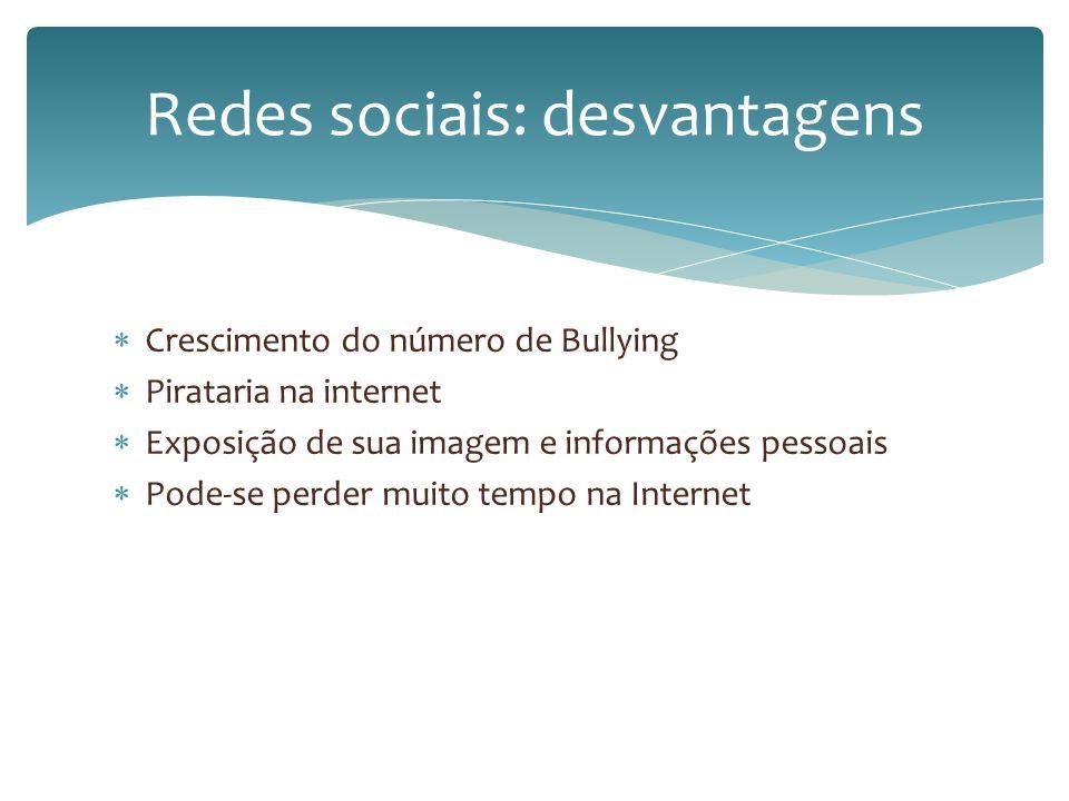 Crescimento do número de Bullying Pirataria na internet Exposição de sua imagem e informações pessoais Pode-se perder muito tempo na Internet Redes so