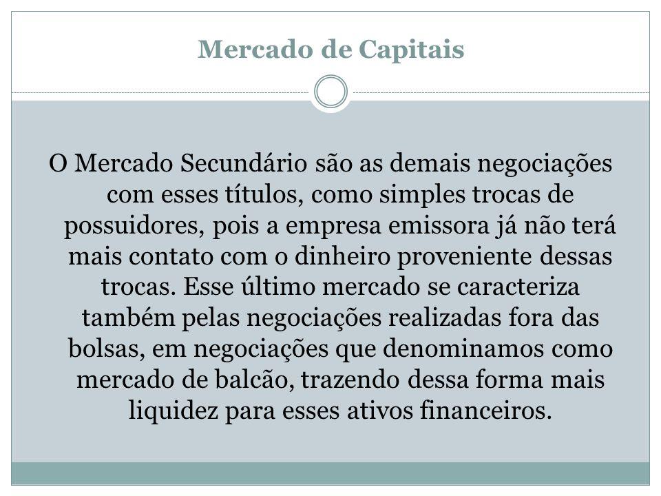 Mercado de Capitais O Mercado Secundário são as demais negociações com esses títulos, como simples trocas de possuidores, pois a empresa emissora já n