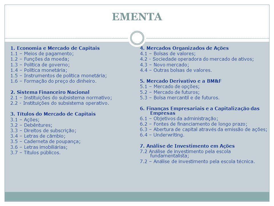 EMENTA 1. Economia e Mercado de Capitais 1.1 – Meios de pagamento; 1.2 – Funções da moeda; 1.3 – Política de governo; 1.4 – Política monetária; 1.5 –