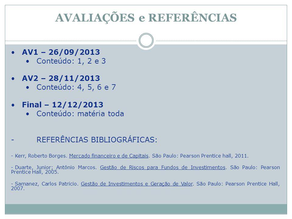 AVALIAÇÕES e REFERÊNCIAS AV1 – 26/09/2013 Conteúdo: 1, 2 e 3 AV2 – 28/11/2013 Conteúdo: 4, 5, 6 e 7 Final – 12/12/2013 Conteúdo: matéria toda -REFERÊN
