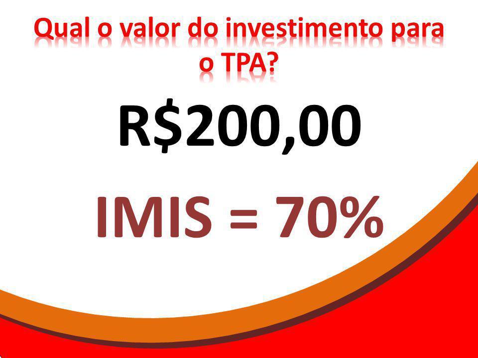R$200,00 IMIS = 70%