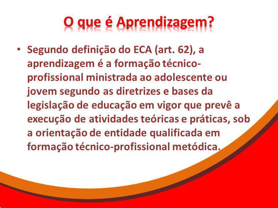 Segundo definição do ECA (art. 62), a aprendizagem é a formação técnico- profissional ministrada ao adolescente ou jovem segundo as diretrizes e bases