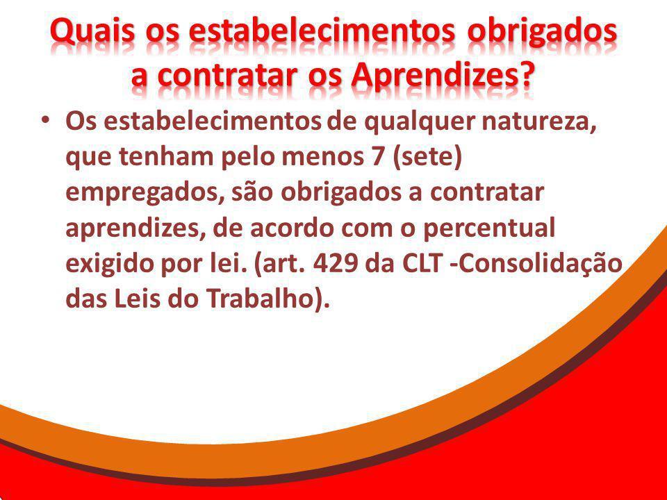 Os estabelecimentos de qualquer natureza, que tenham pelo menos 7 (sete) empregados, são obrigados a contratar aprendizes, de acordo com o percentual exigido por lei.