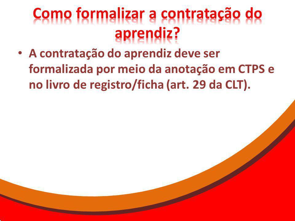 A contratação do aprendiz deve ser formalizada por meio da anotação em CTPS e no livro de registro/ficha (art. 29 da CLT).