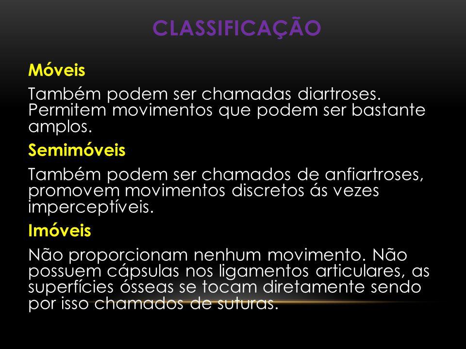 CLASSIFICAÇÃO Móveis Também podem ser chamadas diartroses. Permitem movimentos que podem ser bastante amplos. Semimóveis Também podem ser chamados de