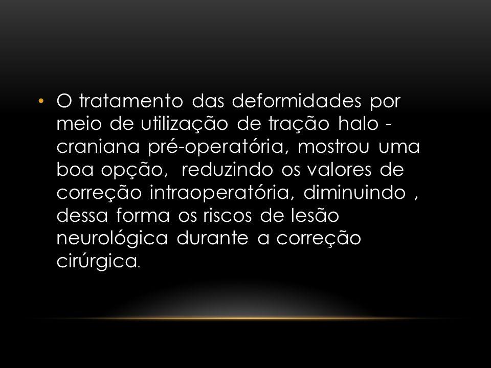 O tratamento das deformidades por meio de utilização de tração halo - craniana pré-operatória, mostrou uma boa opção, reduzindo os valores de correção