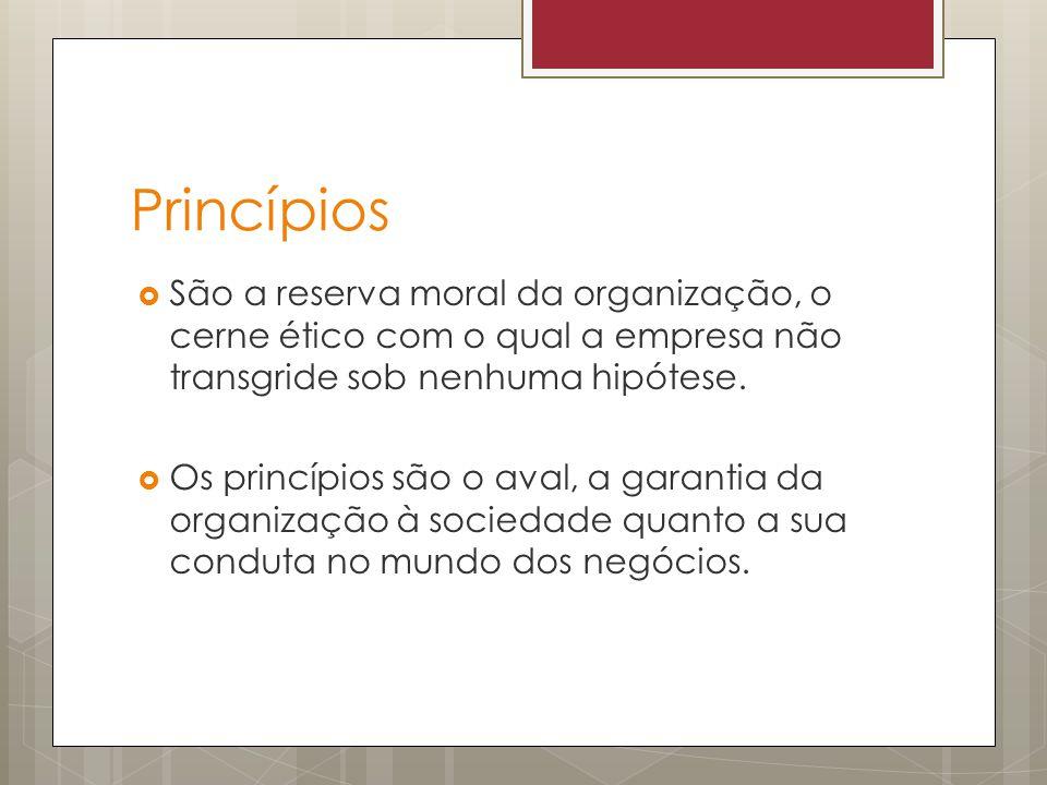 Princípios São a reserva moral da organização, o cerne ético com o qual a empresa não transgride sob nenhuma hipótese. Os princípios são o aval, a gar
