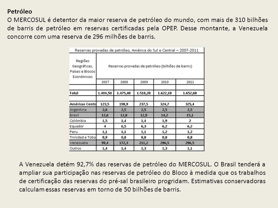 Petróleo O MERCOSUL é detentor da maior reserva de petróleo do mundo, com mais de 310 bilhões de barris de petróleo em reservas certificadas pela OPEP