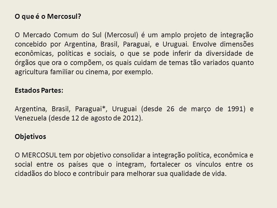O que é o Mercosul? O Mercado Comum do Sul (Mercosul) é um amplo projeto de integração concebido por Argentina, Brasil, Paraguai, e Uruguai. Envolve d