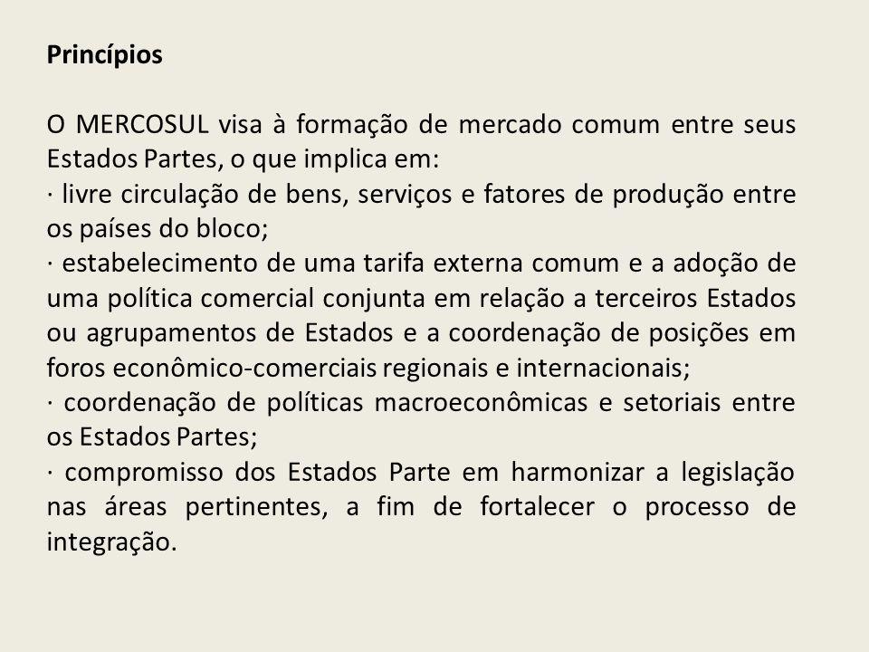 Princípios O MERCOSUL visa à formação de mercado comum entre seus Estados Partes, o que implica em: · livre circulação de bens, serviços e fatores de