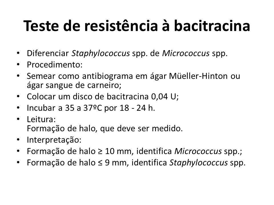 Teste de resistência à bacitracina Diferenciar Staphylococcus spp. de Micrococcus spp. Procedimento: Semear como antibiograma em ágar Müeller-Hinton o