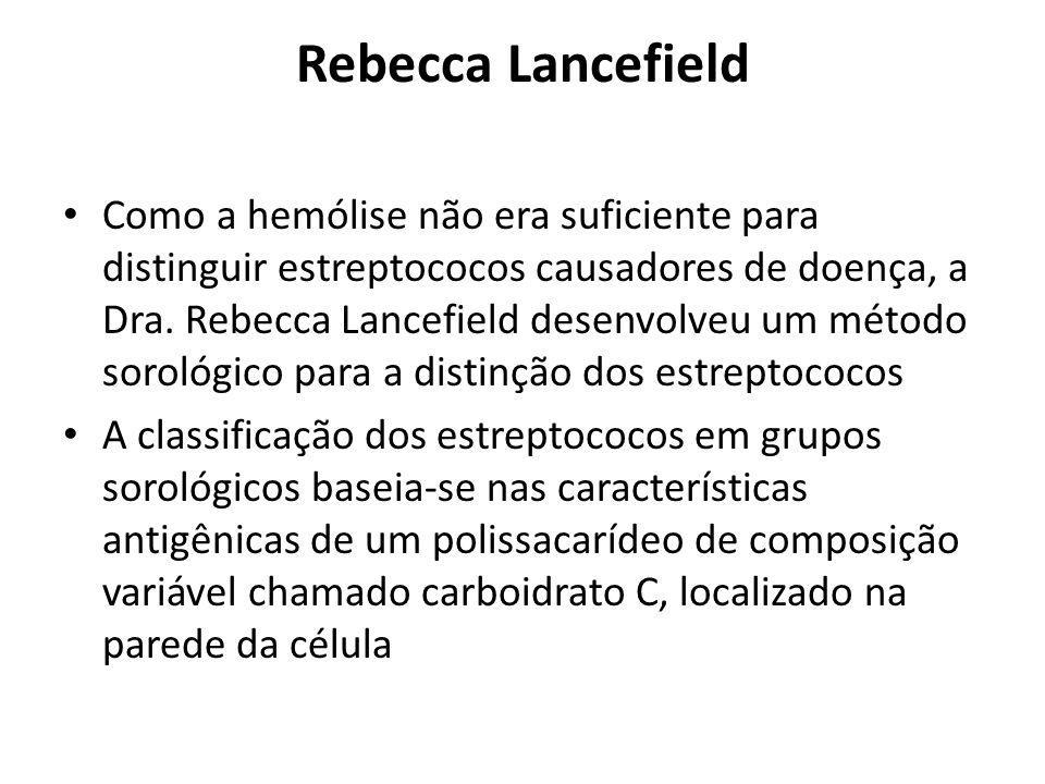 Rebecca Lancefield Como a hemólise não era suficiente para distinguir estreptococos causadores de doença, a Dra. Rebecca Lancefield desenvolveu um mét
