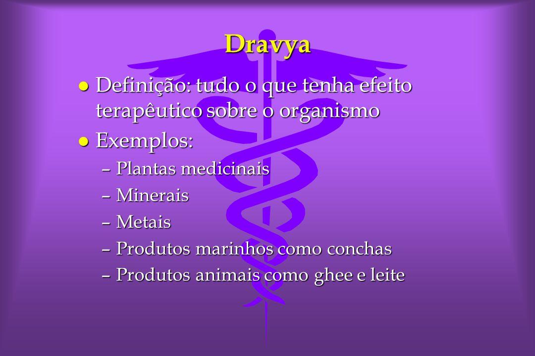 Dravya l Definição: tudo o que tenha efeito terapêutico sobre o organismo l Exemplos: –Plantas medicinais –Minerais –Metais –Produtos marinhos como conchas –Produtos animais como ghee e leite